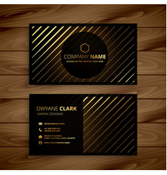 Luxury golden line dark business card vector