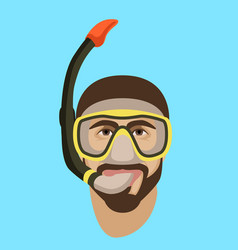 man face in diving mask and snorkel flat style vector image
