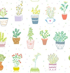 Many herbs kitchen seamless pattern - nice design vector image