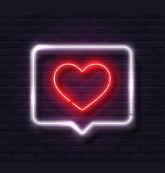 neon red glowing heart in white spech bubble vector image