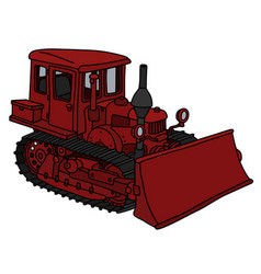Old dark red dozer vector