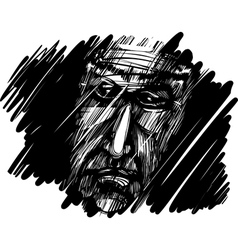 Old mans face in the dark vector