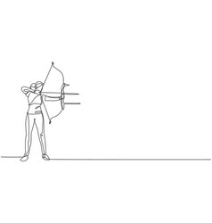 One single line drawing young archer woman vector