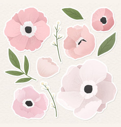Pale pink floral sticker collection vector