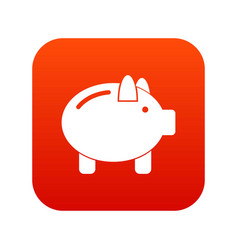 piggy bank icon digital red vector image