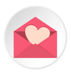 pink envelope with valentine heart icon circle vector image
