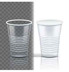 plastic cup transparent mockup coffee vector image