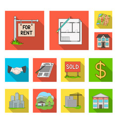 Realtor agency flat icons in set collection for vector
