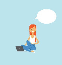 red hair woman using laptop sitting chat bubble vector image