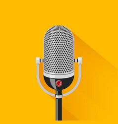 Retro stage microphone silhouette vector