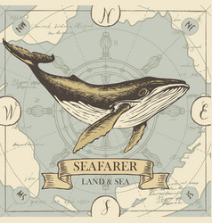 retro travel banner with big whale and old map vector image