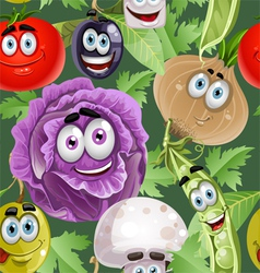 Seamless background with vegetables smiles vector image