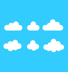 set cloud icons in cartoon flat style isolated vector image