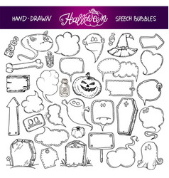 set of halloween speech bubbles vector image