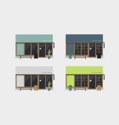 set of modern coffee shop or cafe front view vector image