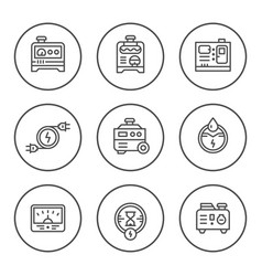 set round line icons of electrical generator vector image