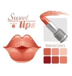 Sexy kissing woman lips with natural beige vector image