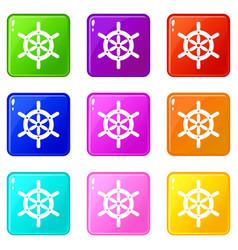 Ship wheel icons 9 set vector