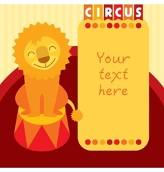 Siting smiling lion in circus Place for text vector