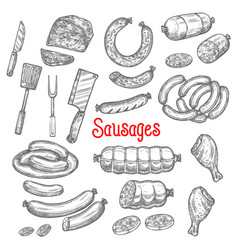 sketch meat sausage products icons set vector image