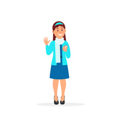 smiling girl standing with smartphone and waving vector image