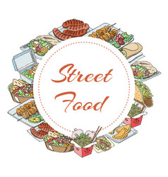 street food banner junk food bakery burger hot vector image