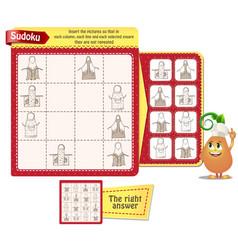 Sudoku adults kitchen aprons iq vector