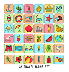 summer set 36 travel icons thin line style vector image