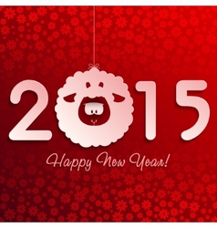 Symbol of New Years lamb on red with snowflakes vector