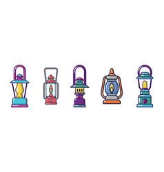 Tourist lamp icon set cartoon style vector