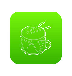 toy drum icon green vector image