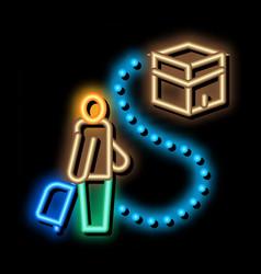 Traveler way to kaaba temple neon glow icon vector