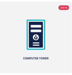 two color computer tower icon from electronic vector image