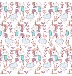 unicorns fantasay background vector image