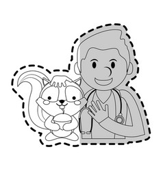 Veterinarian with animal icon image vector