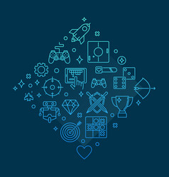 video game concept gaming outline blue vector image