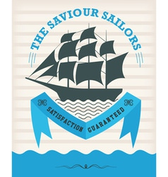 Vintage nautical emblem with sailing ship vector