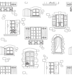 Vintage windows seamless pattern vector
