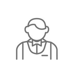 Waiter bartender sommelier line icon vector