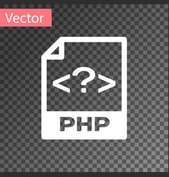 white php file document icon download php button vector image
