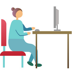 Woman work on computer in office icon vector