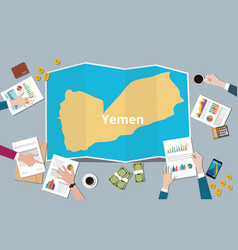 yemen country growth nation team discuss with vector image