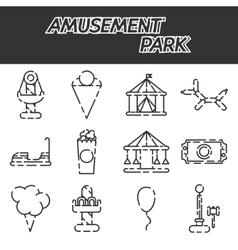 Amusement park icon set vector image