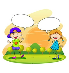 Boy and girl talking in the park vector image vector image