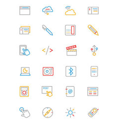 Communication Colored Outline Icons 6 vector image vector image