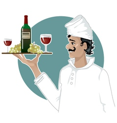 Head-cook with a tray with red wine grape and gla vector image