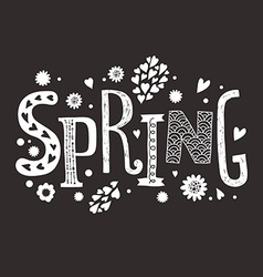 Lettering Spring with decorative floral elements vector image vector image