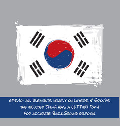 south korean flat flag - artistic brush strokes vector image vector image
