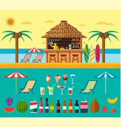 tropical beach with a bar on the beach vector image