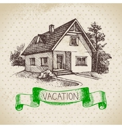 Vintage hand drawn sketch family vacation vector image vector image